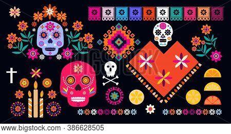 Dia De Los Muertos, Day Of The Dead Or Halloween Set Elements. Sugar Tatoo Skulls, Candle, Maracas,