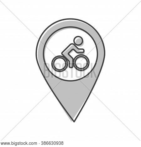 Vector Cyclists Parking Icon. Pointer On The Map Cyclist Cartoon Style On White Isolated Background.