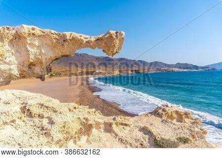 Precious Rock On The Playa Los Escullos In The Natural Park Of Cabo De Gata, Nijar, Andalucia. Spain