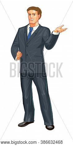 A Middle-aged Young Man In A Black Business Suit And Blue Tie. Isolated Vector Object On White Backg