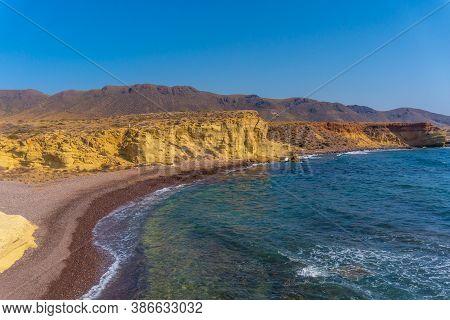 The Beautiful Beach On The Coast Of La Isleta Del Moro In The Cabo De Gata Natural Park, Nijar, Anda