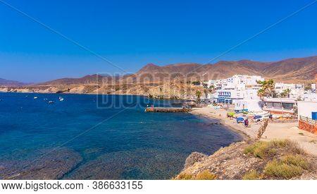 Beautiful Homes Along The Coast Of The Isleta Del Moro In The Natural Park Of Cabo De Gata, Nijar, A