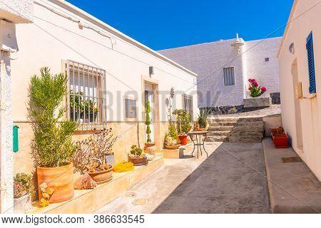 White Houses On The Coast Of The Isleta Del Moro In The Natural Park Of Cabo De Gata, Nijar, Andaluc