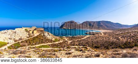 Panoramic Of The Coast And The Castle Of Playazo De Rodalquilar In The Natural Park Of Cabo De Gata,