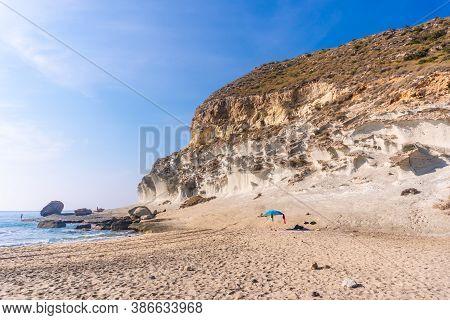 Cala De Enmedio In The Natural Park Of Cabo De Gata, Nijar, Andalucia. Spain, Mediterranean Sea