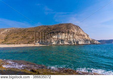 Beautiful White Rock Walls In Cala De Enmedio In The Natural Park Of Cabo De Gata, Nijar, Andalucia.