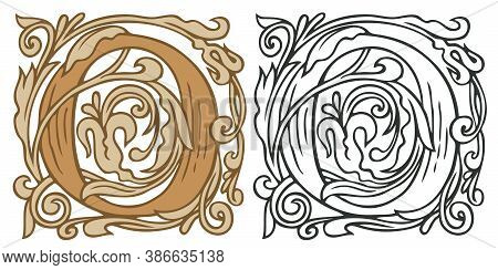 Initial Letter O With Vintage Baroque Decorations. Two Vector Uppercase Letters O In Beige And Black