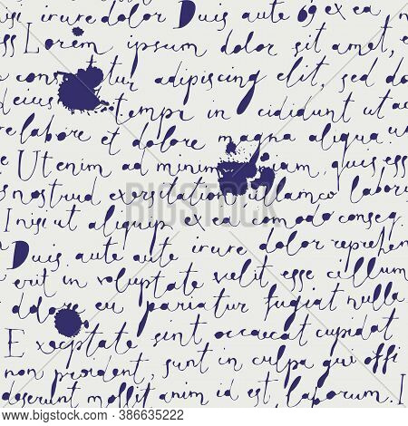Vector Seamless Pattern With Handwritten Text And Ink Blobs On The Old Paper Background In Retro Sty