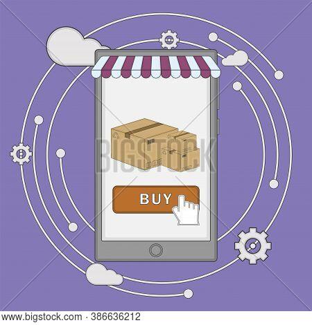 Online Commerce Illustration. Internet Bussiness. E-commerce Concept - Vector