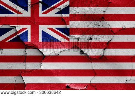 Flag Of British East India Company (1733-1833) On Cracked Wall