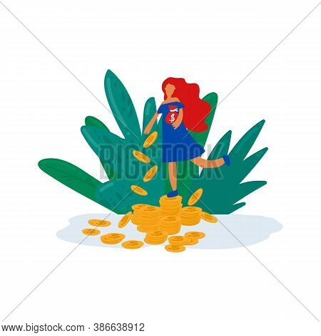 Illustration Of Pension Savings A Woman Collects Money. The Concept Of Financial Savings In A Pensio