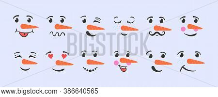 Set Of Funny Snowman Faces Isolated On A White Background. Cartoon Funny Doodle Snowman Head Face Wi