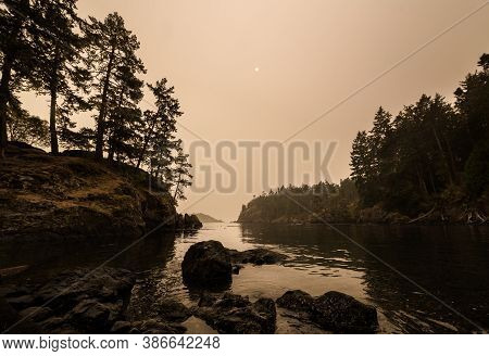 Coastline Of Sooke, Bc Obscurred By Smoke And Haze From The Oregon Wildfires 2020.
