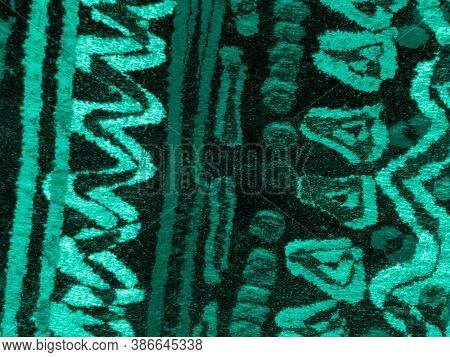 Turquoise Folklore Pattern. Green Native Ornament. Boho Embroidery. Fresh Rough Texture. Bohemian Ar