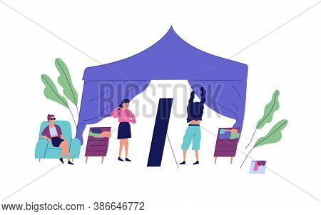 Man Try On Jumper In Front Of Mirror At Tent Of Street Market Vector Flat Illustration. People Choos