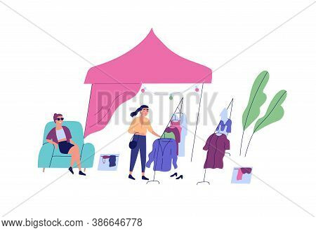 Female Choosing Clothes At Rag Fair Or Street Market Vector Flat Illustration. Buyer Touch Apparel O