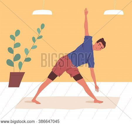 Active Man Doing Yoga Exercise At Home Or Gym Vector Flat Illustration. Flexible Male Practicing Str