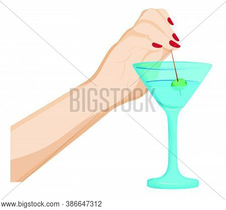 Female Hand Dips A Skewer With Olive In Martini Glass. Cocktails, Alcoholic Drinks, Illustration To