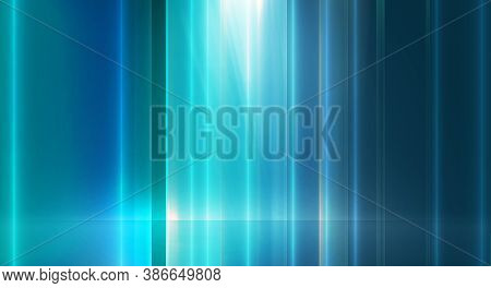 Abstract High Technology Background, Empty Backdrop Light Effects On Ground. 3d Illustration