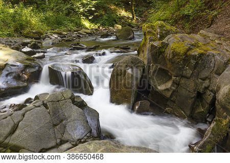 Nature Landscape With The Stream Of The Forest River At Summer. Turichka River Near Lumshory Village