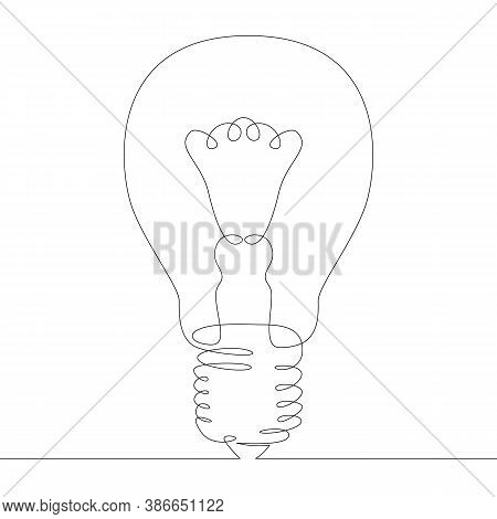 One Continuous Drawing Line Logo Incandescent Filament Glow Lamp  .single Hand Drawn Art Line Doodle