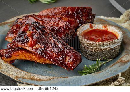 Keto Food, Barbecue Pork Ribs. Slow Cooking Recipe.