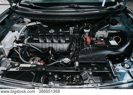 Novosibirsk, Russia - September 19, 2020: Nissan X-trail, Close Up Of A Clean Motor Block. Internal