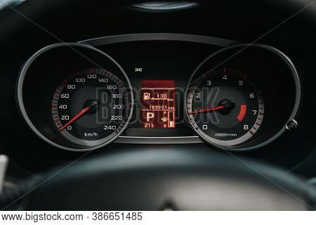 Novosibirsk, Russia - September 19, 2020: Mitsubishi Outlander, Round Speedometer, Odometer With A R