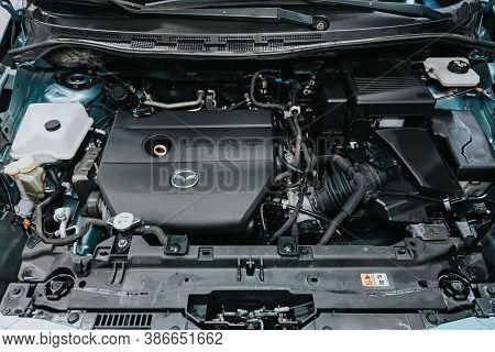 Novosibirsk, Russia - September 19, 2020: Mazda 5, Close Up Of A Clean Motor Block. Internal Combust