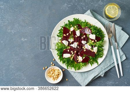 Salad With Beet, Curd, Feta, Ricotta And Pine Nuts, Lettuce. Healthy Keto Ketogenic Dash Diet