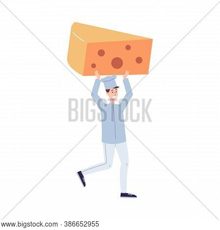 Chief Cook Carrying Huge Piece Of Cheese Flat Vector Illustration Isolated.