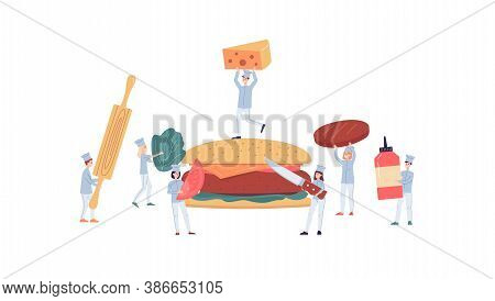 Tiny Cooks Or Chiefs Gathering A Giant Burger Flat Vector Illustration Isolated.