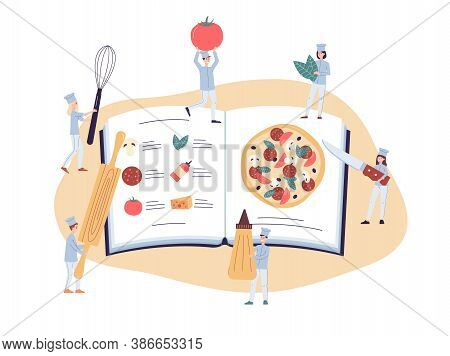 Tyiny Chiefs Making Pizza Using A Recipe Book, Flat Vector Illustration Isolated.