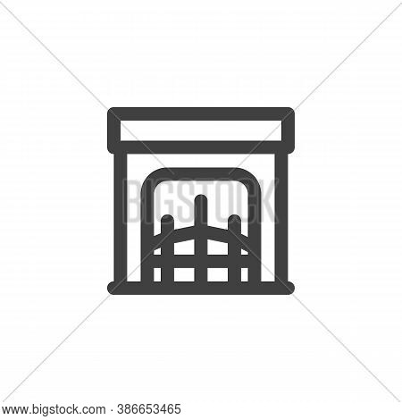 Fireplace Line Icon. Linear Style Sign For Mobile Concept And Web Design. Fireplace Outline Vector I