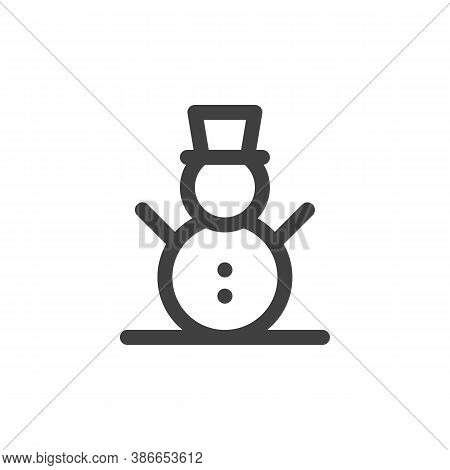 Snowman With Hat Line Icon. Linear Style Sign For Mobile Concept And Web Design. Xmas Snowman Outlin