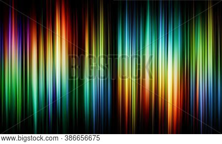 Abstract Background Blurred Pink Red Green Yellow Blue Orange Colorful Rays Light On Black With The