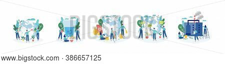Ecologists Taking Care Of Planet, Flat Cartoon Vector Illustration Isolated