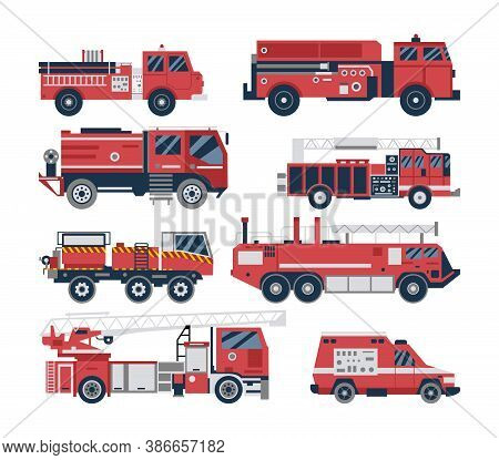 Fire Engine And Firetruck Set - Isolated Red Emergency Vehicle Collection