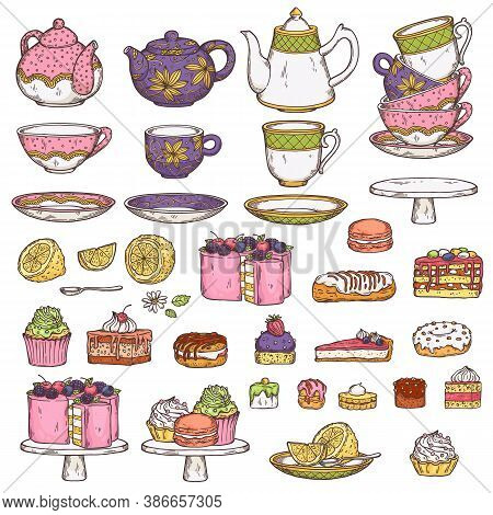 Set Of Tea Utensils And Sweet Desserts In Sketch Vector Illustration Isolated.