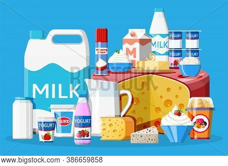 Dairy Products Set. Collection Of Milk Food. Milk, Cheese, Yogurt, Butter, Sour Cream, Cottage, Crea