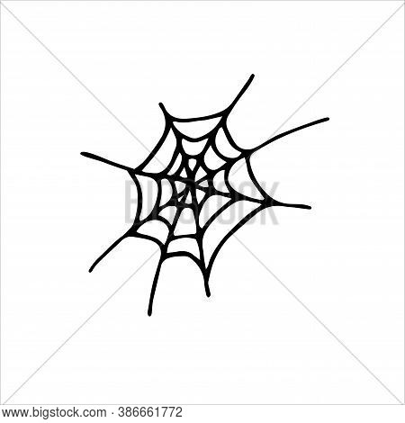 Doodle Spider Web Element. Hand Drawn Black Cobweb Isolated On White Background. Scary Cute Sign. Ou