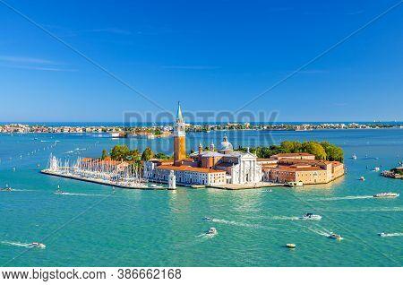 Aerial Panoramic View Of San Giorgio Maggiore Island With Campanile San Giorgio In Venetian Lagoon,
