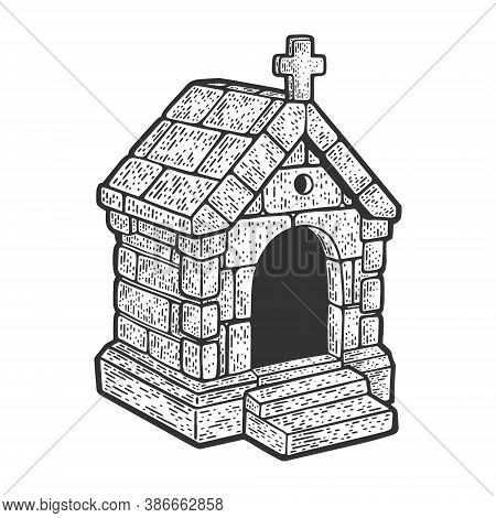 Stone Burial Crypt Tomb Vault Sketch Engraving Vector Illustration. T-shirt Apparel Print Design. Sc
