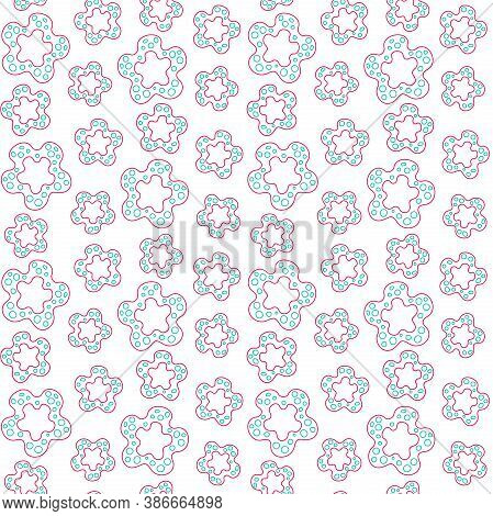 Abstract Red Flowers Of Different Sizes With Turquoise Spots On A White Background. Vector Seamless