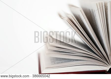 Books .learning, Knowledge And Hobby Concept.paper Book Set On A White Background. Book Pages Close