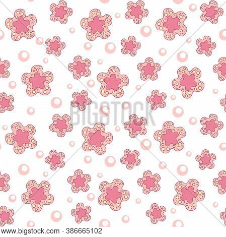 Abstract Pink Spotted Flowers Of Different Sizes On A White Background With Small Pale Pink Circles.