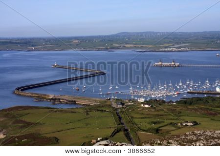 View from Mountain to Holyhead Port and marina poster