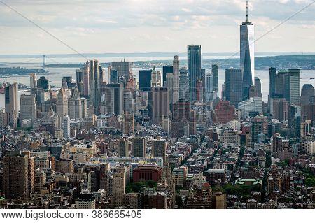 New York, Usa - June 6, 2019:  New York City. Wonderful Panoramic Aerial View Of Manhattan Midtown S