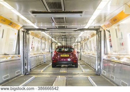 Channel Tunnel, England -june 4, 2017: Cars Boarding The High Speed Eurostar Trains For The Channel