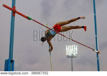 Istanbul, Turkey - September 12, 2020: Undefined Athlete Pole Vaulting During Balkan U20 Athletics C